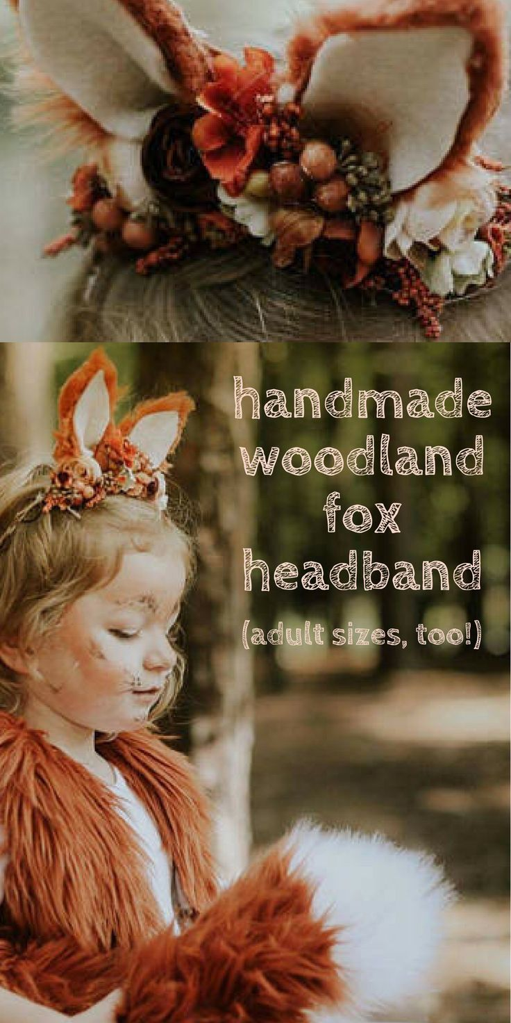 Adorable handmade fox headband with faux fur ears and surrounded by woodland berries, pinecones and other rustic findings.  Adult and child sizes, perfect for a fox, deer, or other woodland creature costume.  #fox #deer #costume #headpiece #crown #halloween #cosplay #afflink #etsy
