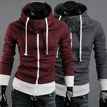 Mens Fashion High Collar Hooded Long Sleeve Cotton Blend Hoodie | Sneak Outfitters
