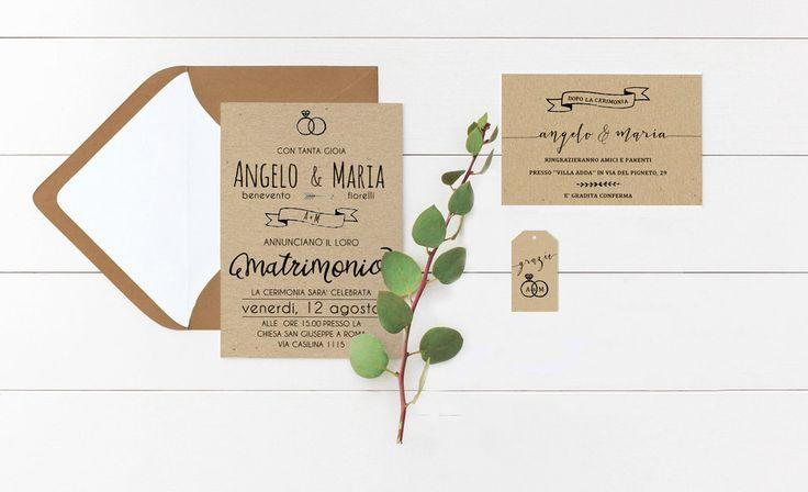 Partecipazioni Stile Boho Rustic Chic, Partecipazioni Matrimonio in Carta Kraft