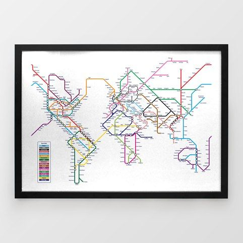 World Tube Map Print by Michael Tompsett - Around the World In 80 Stations