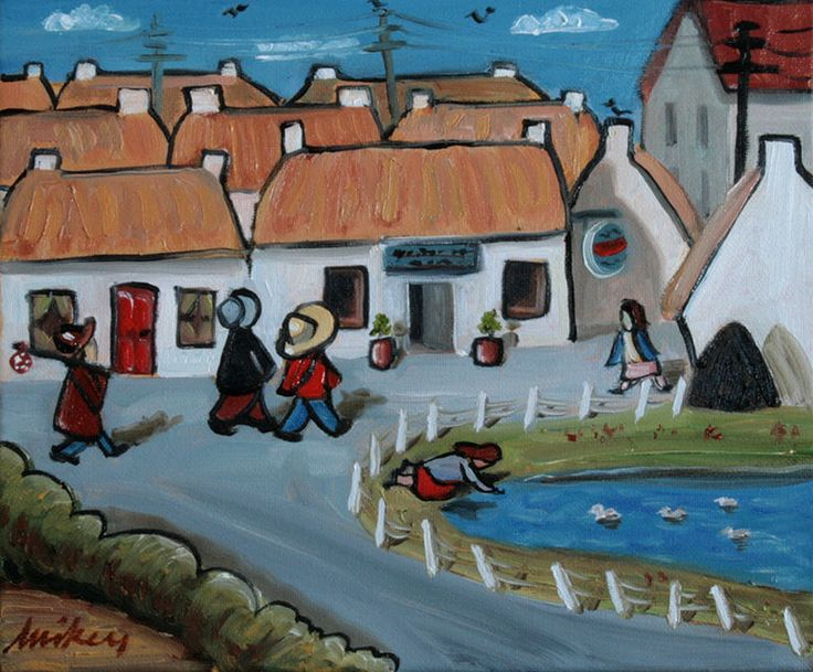 Going to the Pub  Irische Kunst, Art Brut - Outside Art, Mikey Roberts, Irland