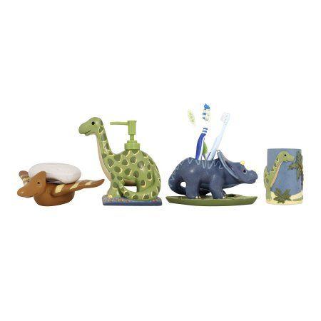 Modona Four Piece Kids Bathroom Accessories Set - Dinosaur