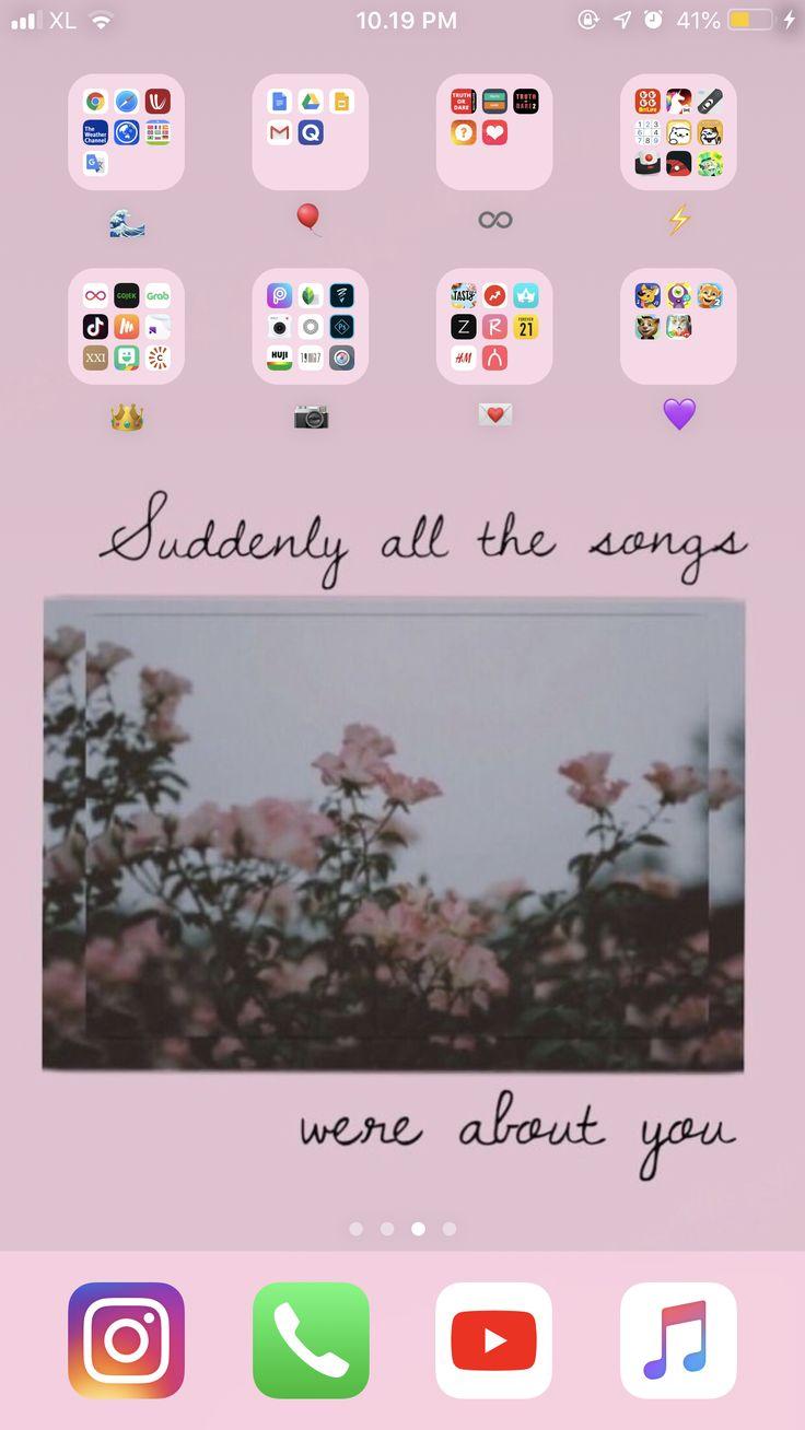 Iphone home screen wallpaper aesthetic phone organization