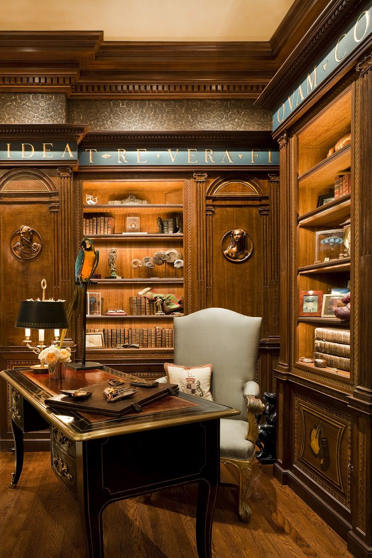 library office. wood paneled library home office