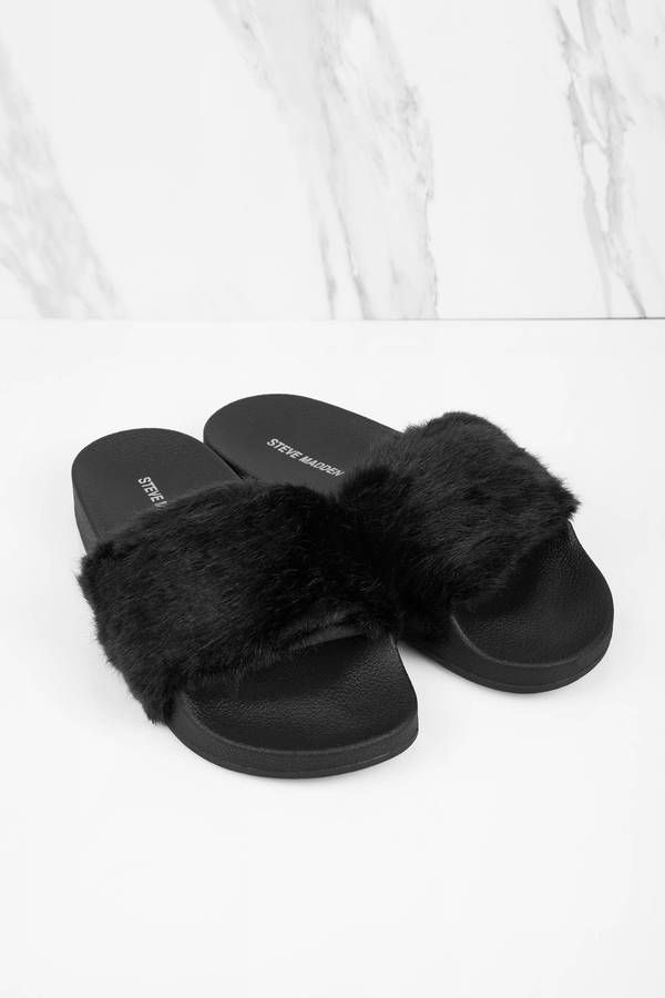 Shop The Quot Steve Madden Softey Black Faux Fur Sandals Quot On Tobi Com Now Who Doesn T Need A Little