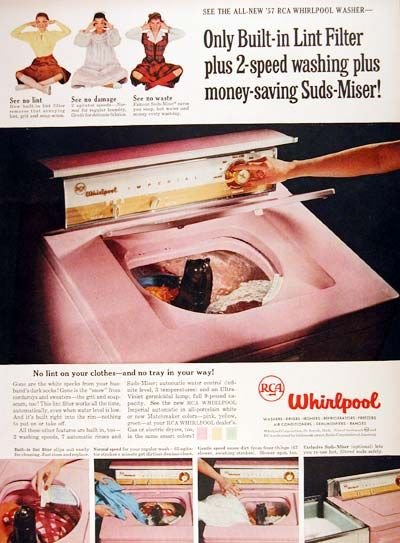 1957 Rca Whirlpool Washing Machine Classic Vintage Print