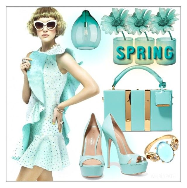 Spring Fling! by whirlypath on Polyvore featuring Casadei, Sophie Hulme, Bulgari, Tech Lighting and Jamie Young