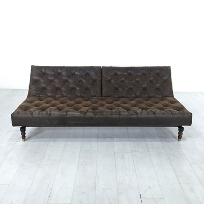 Aristocrat Tufted Sofa Bed. - Beautifully tufted sofa in a rich shade of brown- Folds down into a day bed- Perfect for napping or hosting an overnight guest