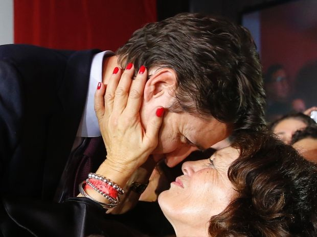 Liberal Leader Justin Trudeau is embraced by his mother, Margaret Trudeau, as he arrives to give his victory speech in Montreal after Monday's federal election.