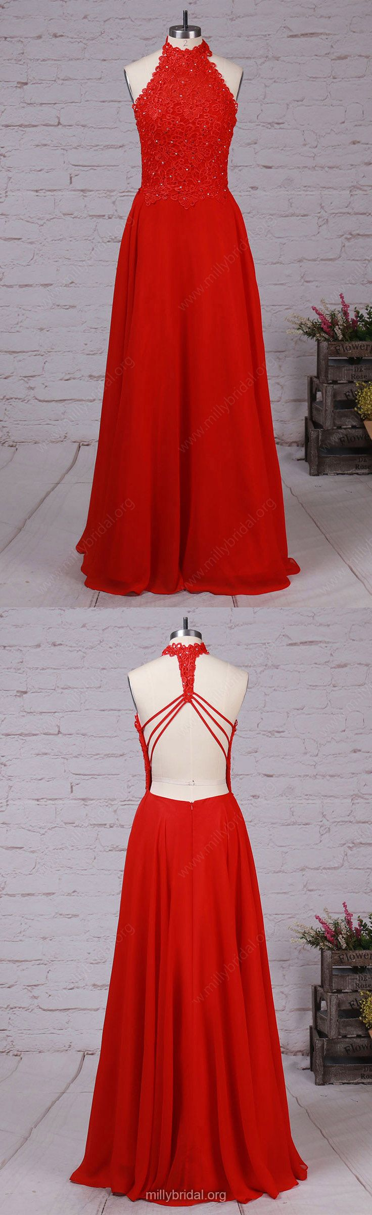 Red Prom Dresses,Long Prom Dresses,2018 Prom Dresses For Teens,Modest Prom Dresses A-line, High Neck Prom Dresses Lace, Chiffon Prom Dresses Beading #formaldresses