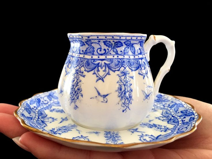 Antique Demitasse Teacup and Saucer, EJD Bodley, c1887 Blue and White English Demi Tea Cup -J-