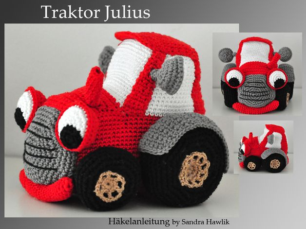 """Traktor Julius   ca. 18 lang und  15 cm hoch bei Nutzung von Garn mit LL 125m/ 50g (Empfehlung: Pro Lana Cotton Basic oder """"Catania"""" von Schachenmayr) und Häkelnadel 3,0 bis 3,5  Je nach..."""