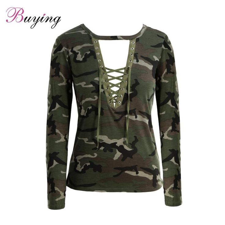 Camouflage Long Sleeve T-Shirt Lace Up Neck Cross Printed Sexy Slim T-Shirt Tops Army Green Camisas Femininas