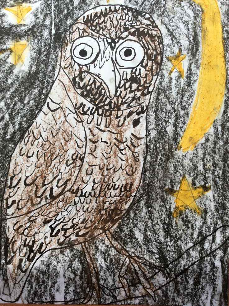 Ink and oil pastel owl.