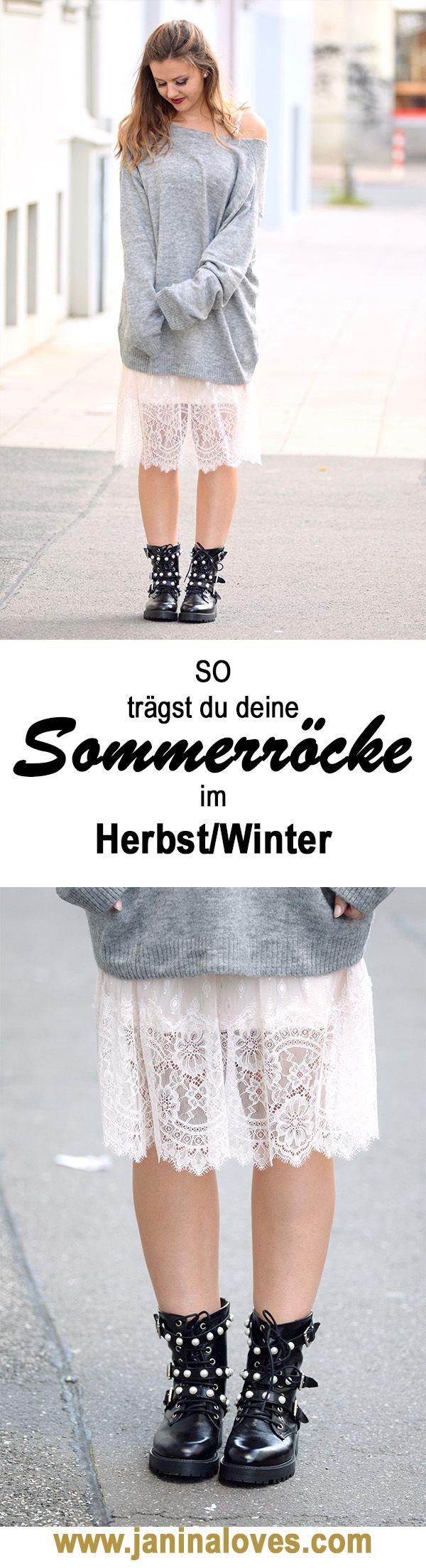 Ultimativer Style Guide: So einfach kannst du deine Sommerröcke im Herbst/Winter tragen. Du willst dein Lieblingssommerkleid auch im Winter tragen? So geht's: trag deinen Sommerrock oder Sommerkleid mit Biker Boots und Kuschelpulli. Biker Boots by Zara, Rock by H&M, Pulli by H&M. Norddeutscher Streetstyle. Fashionblog aus Hannover. Balayage Ombré Haare mit Longbob
