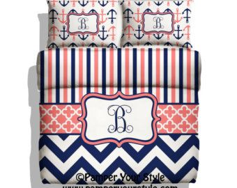 Monogrammed Striped and Chevron Nautical Anchor by PAMPERYOURSTYLE
