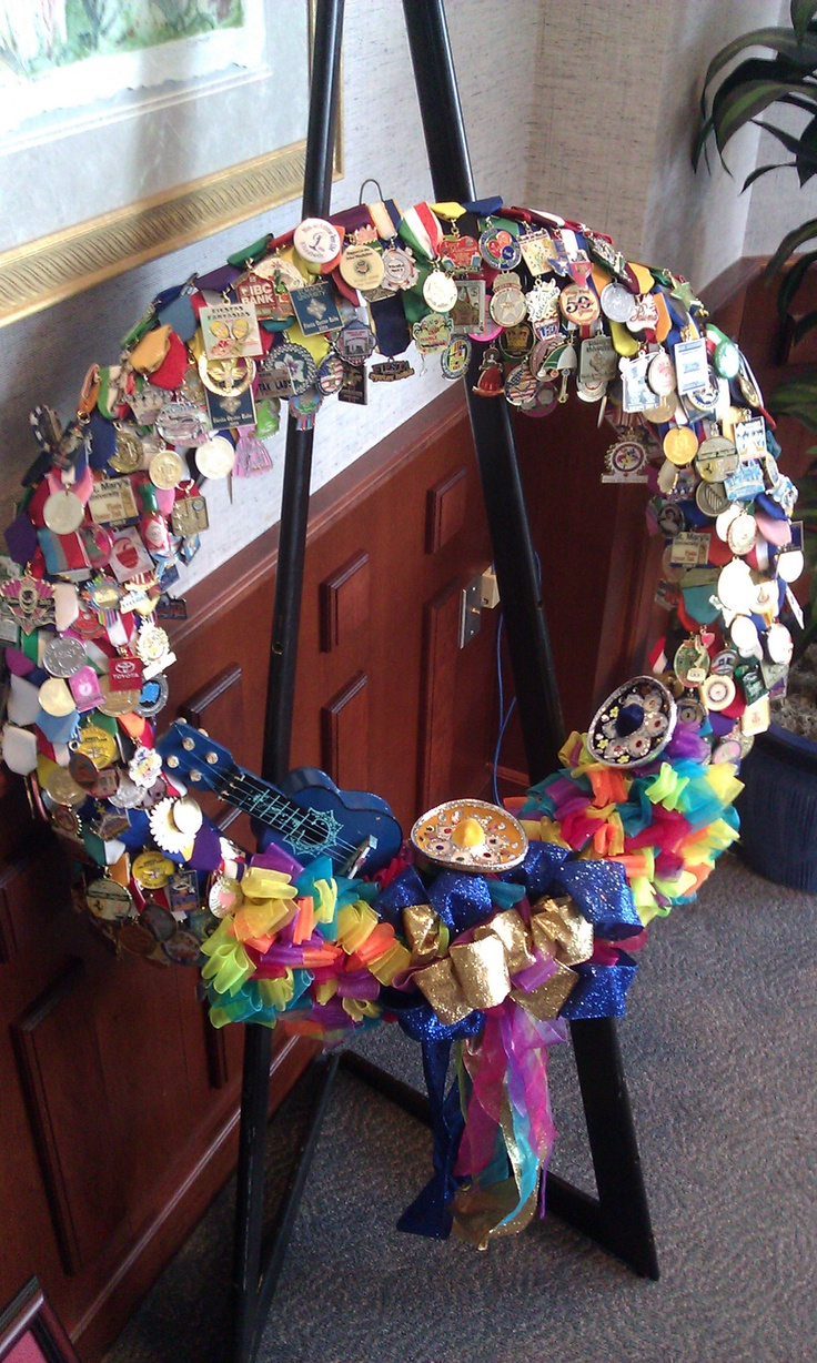 President cotrell s oyster bake medals were made into a wreath as a gift for his service