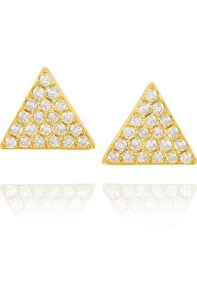 Triangle 18-karat gold diamond earrings #jewelry #women #covetme #Anita Ko