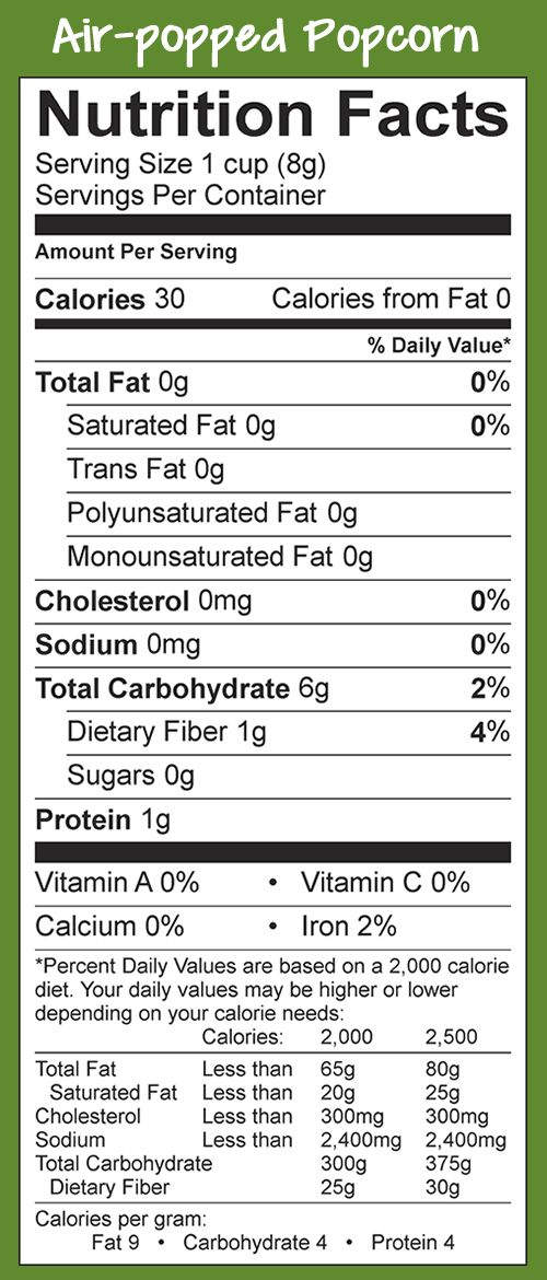 Popcorn nutrition facts - Air-popped