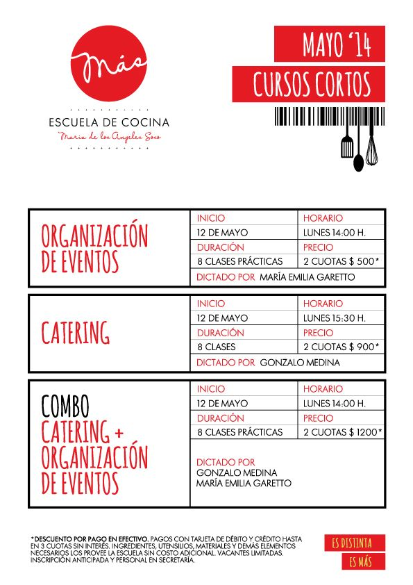 CURSOS CORTOS DE COCINA & PASTELERÍA | MAYO 2014 | MÁS Escuela de Cocina