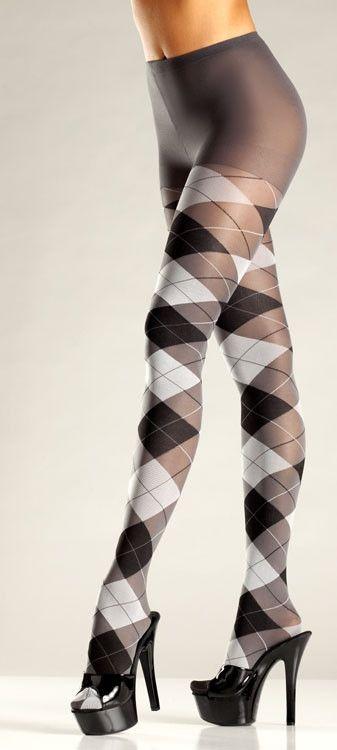 Omg! I love these! Sooooo cute!!! Gray and Black Argyle Tights.