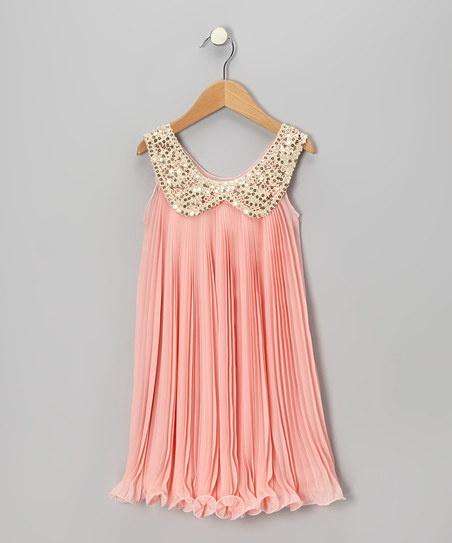 Pink Sequin Collar Party Dress Toddler & Girls