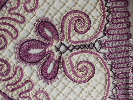 Текстиль, ковры ручной работы. Ярмарка Мастеров - ручная работа. Купить Салфетка кружевная Маттиола, русское кружево. Handmade. Фиолетовый цвет