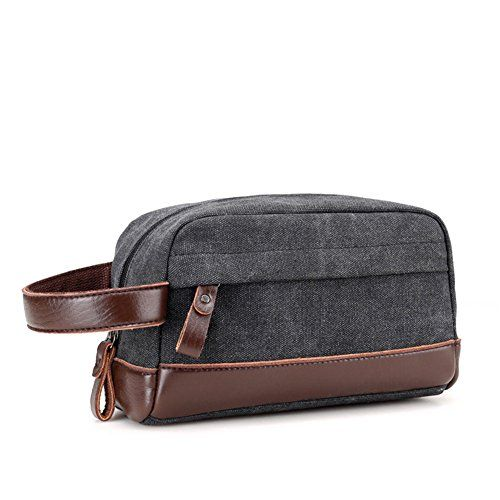 Toupons Toiletry Organizer Bag for Men Canvas Dopp Kits Shaving Kit Travel Accessories Bag (Black)  High Quality Toiletry Organizer Bag, made of 16oz canvas, Eco-friendly. And decorated with high quality leather. A Handle For Easy Carrying. Thick Large Zipper makes it easy to zip and unzip  Size: 9 Inch L X 4.7 Inch W X 5.1 Inch H, easily fits into a backpack or suitcase for gym or travel  One main compartment, a small inside zipper pouch and a outside zipper pocket help you put shavin...