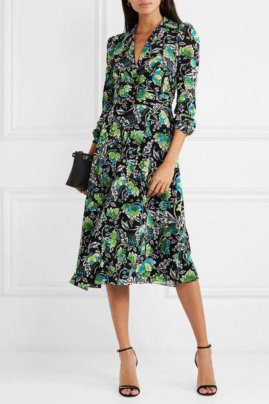 ce7ee1c53eb Diane von Furstenberg - Phoenix floral-print georgette wrap dress in 2019 |  Sewing Ideas | Dresses, Wrap Dress, Floral prints