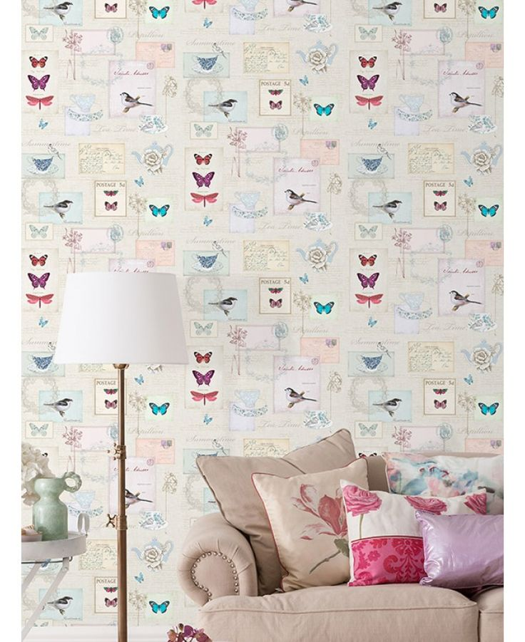 A beautiful vintage postcard themed wallpaper The design also features birds, butterflies, teacups and and teapots Ideal for bedrooms and lounges