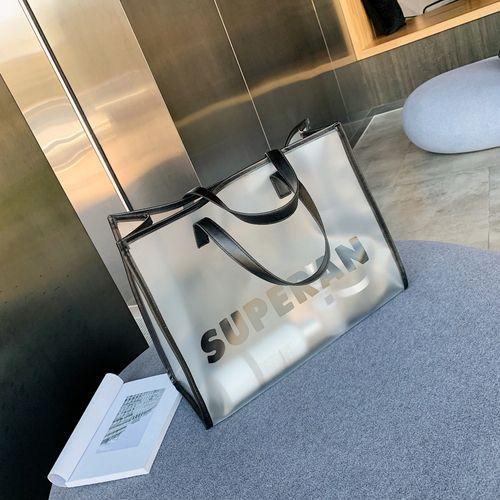 Summer transparent handbag pvc clear bag travel ladies shoulder bag with purse large capacity beach tote bag