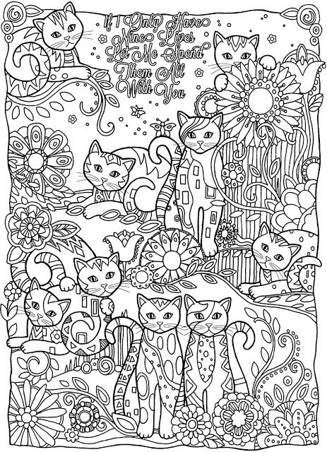 Coloring Page World: If I Only Have Nine Lives Let Me Spend Them All With You, Cats