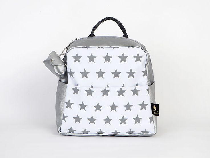 Grey stars print screen kids preschool backpack  School bag, kids bag, backpack for kids, toddler bag,toddler backpack   https://www.etsy.com/listing/243717068/toddler-backpack-silver-stars-back-to?ref=shop_home_active_2