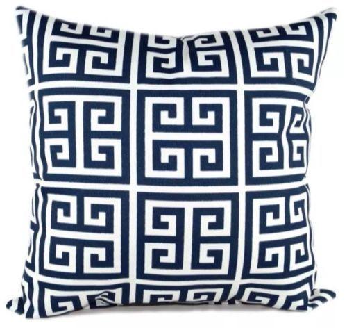 £7,50 Chiave-greca-federa-copri-cuscino-blu-navy-geometrico-biancheria-di-cotone-18-45cm