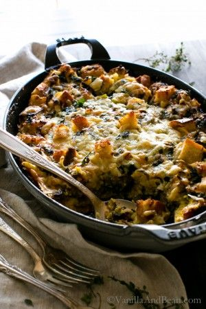 Kale, Mushroom, Leek Savory Bread Pudding   Vegetarian   Vanilla And Bean @vanillaandbean