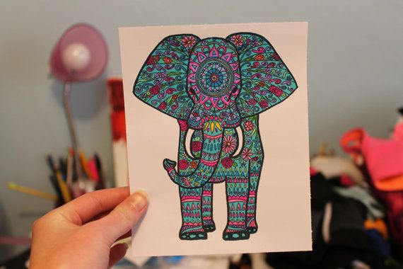 Elephant Drawing by lyricsbylibby on Etsy, $8.00