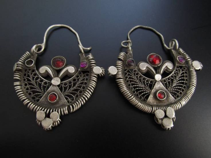 Central Asia | Antique, Tribal Kuchi Silver Earrings