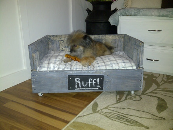 Wooden pallet crate dog bed with custom hand painted name for Pallet dog crate