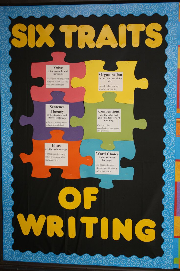 "Bulletin Board Idea - ""Piecing"" together the Six Traits of Writing: make the puzzle pieces (use a Cri-cut if you have access) and paste the labels onto each.  It's a great reminder for students as they learn about the basic concepts behind great writing!"