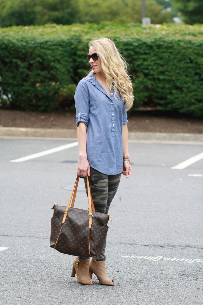 Weekend Camo: chambray denim tunic button down shirt, camo skinny pants, Louis Vuitton MM tote, tan Stuart Weitzman peep-toe booties, Prada sunglasses