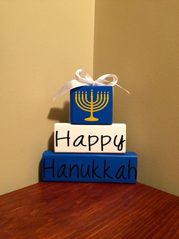 Happy Hanukkah Wood Block Set Sign Home Decor by CraftyWoodzyStore