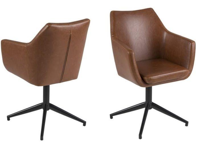 Krzesło Nora I brązowe ekoskóra Actona