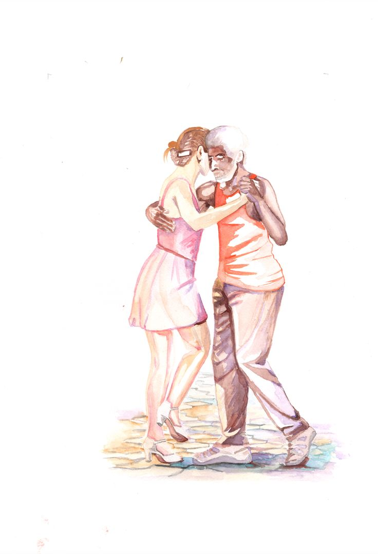 Painting watercolor. Inspiration from a couple of wonderful people dancing tango in the Central Park.