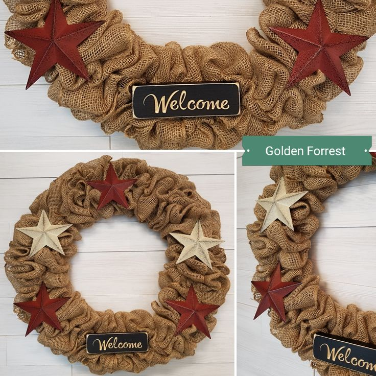 Burlap Wreath with Stars  #goldenforrest #goldenforrestcreations #burlapwreath #burlap #wreath #doordecor #countrydecor #stars #welcome