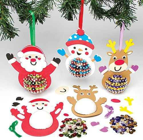 Lot de 3 kits de d corations de no l avec sequins pour for Decoration de noel amazon
