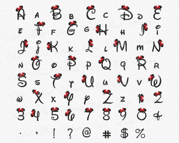 Disney SVG Font Disney Alphabet SVG Ears svg, Minnie font