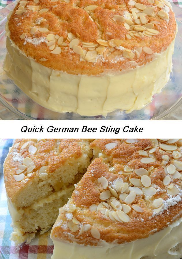 This quick German cake has honey, almonds and 'bavarian' cream!