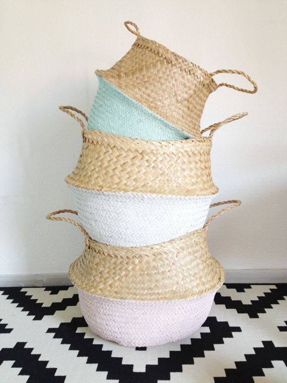 Beautiful and practical dip dyed pink handwoven sea grass baskets.  These beautiful baskets have so many uses from an original beach or…