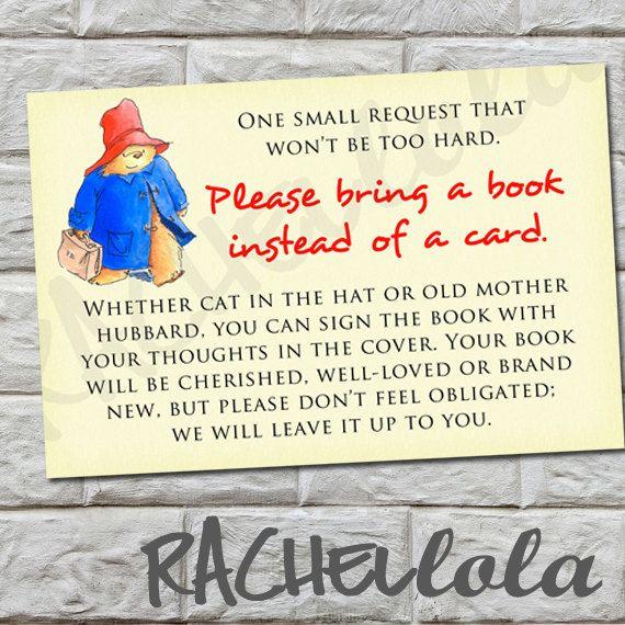 Bring a Book instead of a Card Insert Paddington by Rachellola, $5.00