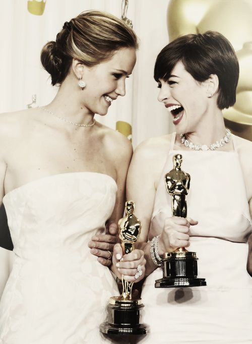 Jennifer Lawrence and Anne Hathaway ~ two beautiful ladies in so many ways (though I hate Anne's choice of gown here).
